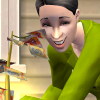 angieshade: sim woman gathering money from tree, giggling (a9: elle)