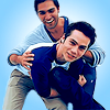 istia: derek hale and stiles stilinski holding each other and laughing (teen wolf | derek/stiles blue)