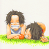 inkstone: chibi!Ace & chibi!Luffy from One Piece (better days)