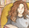 eccentrikita: Softly colored drawing of Hermione from Harry Potter, sitting in a chair in a library reading a book. (Default)