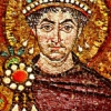 halialkers: frontal view of Emperor Justinian. Brown hair, blue eyes, red robes (Varl H'ven Dugara)