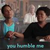"jadelennox: Community: Abed and Shirley holding hands: ""you humble me"" (community: humble)"