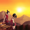 laceblade: Sokka verbally comforting Toph on cliff-edge, sunset in background (ATLA: Sokka & Toph)