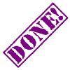 """kshandra: """"DONE!"""" written in purple stencil-font lettering at a 45 degree angle (Done!)"""