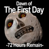 "beccastareyes: Phobos with the moon's face from Legend of Zelda: Majora's Mask photoshopped on top.  Text reads ""Dawn of the First Day"" (first day)"