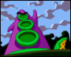 switterbeet: A purple tentacle from the video game Day of the Tentacle laughing maniacally while Green Tentacle cowers in the background (tentacle)