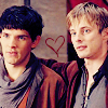 winkingstar: Arthur with his arm on Merlin's shoulder (Merlin BBC) with a heart between them. ([Merlin] hearts)