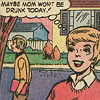 "galateus: ""Maybe Mom won't be drunk today!"" thinks the cheery retro-comics girl. (mom drunk optimism)"