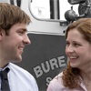 healingmirth: Jim and Pam from The Office (US) - Fire Drill (fire truck, stamford)