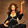 sharpest_asp: A seated woman with a thread in her hand, knitting needles, and a spider web vaguely visible (Incarnations: Fate)