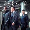 bluflamingo: Fury, Coulson and Hill with SHIELD printed above them (SHIELD)