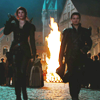 bluflamingo: Hansel and Gretel (from Witch Hunters) walking towards camera, town burning behind them (Hansel and Gretel)