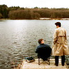 spatz: Dean and Cas standing on a lake dock, making eyes at each other (SPN Dean-Cas lake)