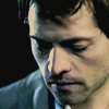 fadedsouls: By neaf @lj  (SPN - Castiel - looking down - HOT!)