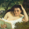 wordwitch: Woman in a shift, reading on a couch (Wordwitch)