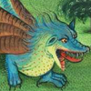 nightdog_barks: Illuminated manuscript head and forequarters of a small blue dragon (Blue dragon)