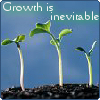 ainbthech: text: Growth is Inevitable. Image: sprouting seedlings (Growth)