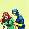 seriousmoonlight: Jean Grey in her Marvel Girl costume, putting her hand on her head and being assisted by Cyclops (give me a break)