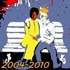"""tablesaw: A black woman and a white man hold each other on a park bench. Text reads """"2004-2010."""" (Ojouchan)"""