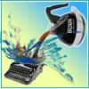 eriktrips: Bunn coffee pot emptying onto typewriter in splash of words (justAddCoffee)