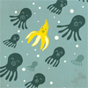feathercircle: A banana swimming amongst a school of darkly-colored octopi (odd one out)