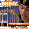 "owlmoose: Picture of Tim Lincecum admiring the World Series trophy with the text ""Shiny"" (baseball - shiny)"