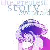 "naye: Luffy holding his hat, looking happy, and the words ""greatest story ever told"" (one piece - the greatest story ever told)"