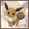tyger: Eevee.  Text: イーブィ (pokémon - eevee)