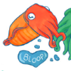 "nightmachinery: An orange cuttlefish, tentacles entwined with a green one off screen, saying ""bloop"" in a heart-shaped bubble. (Echo - Cuddlefish)"
