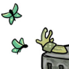 nightmachinery: A slug with feelers cheerfully in the air, looking at colorful butterflies. (Echo - Oracular Slug)