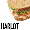 rhivolution: image of a turkey sandwich on a white background; the word 'harlot' is printed in black in the corner (harlot: night vale community radio)