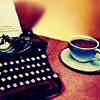 musyc: Stock photo of typewriter and coffee cup (Stock: Typewriter)