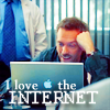 "musyc: Gregory House smiling at laptop, captioned ""I love the internet"" (House: I love the internet)"