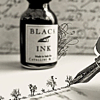 musyc: Stock photo of ink bottle and antique fountain pen (B/W: Ink and pen)