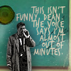 "musyc: Castiel from Supernatural, on cell phone, captioned ""this isn't funny, Dean, the voice says I'm almost out of minutes"" (Supernatural: Out of minutes)"