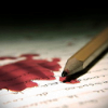 nightmachinery: A pencil lying in a pool of blood on a page. (Echo - Writing Angst)