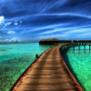 musyc: Stock photo of boardwalk over tropical water (Stock: Solitude)