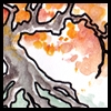 jjhunter: Gnarled watercolor tree arches a low branch with flaming autumnal leaves (poetree radiant)