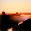 zanzando: Misty fields and a stream at dawn. (Home.)