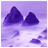 musyc: Stock photo, tinted purple, of large boulders in fog (Purple: Rocks and fog)