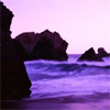 musyc: Stock photo, tinted purple, of rocks in ocean (Purple: Sea)