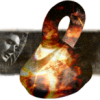 jjhunter: Flaming Klein Bottle with image of the face of Dean Winchester (SPN) in b&w to the left (catch divider)