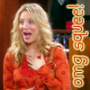 notalwaysweak: Big Bang Theory: Penny wearing an orange top with the words 'omg squee!' written down the side, also in orange (BBT: OMG squee!)