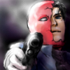 no_ones_son: Jason Todd as the Red Hood pointing a gun at the screen. His helmet is half broken, revealing his maskless face. (Default)