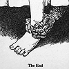 "seeitbloom: foot and bottom of a bed with a bedskirt seen; monster/creepy hand reaching out & grabbing the ankle; reads ""the end"" (the end)"