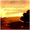 "deird1: Mai and Zuko cuddling, with text ""you're so beautiful when you hate the world"" (Mai Zuko hate the world)"