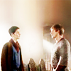 dubious: Arthur and Merlin looking at each other. (Look at each other [Merlin])