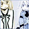 arabesque: Tales of Symphonia: happy Genis sitting next to a confused Mithos (Love me love me love meeee)