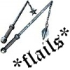 "pne: Two flails (weapons) and the text ""*flails*"" (*flails*)"