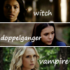havocthecat: bonnie as witch, elena as doppelganger, caroline as vampire from the vampire diaries (tvd bonnie elena caroline)